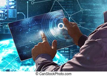Internet. Negocios. El concepto de tecnología. El hombre de negocios presiona un botón en la pantalla virtual fecha de futuro.