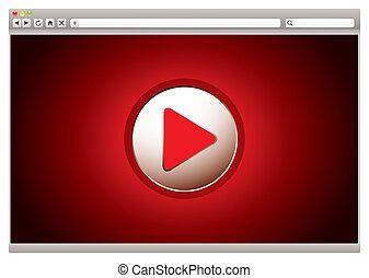 internet, vídeo, rojo, examinador