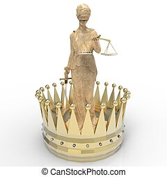 interpretación, justicia, themis, diosa, corona de oro, 3d