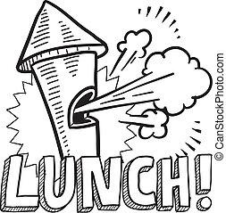 interrupción, almuerzo, bosquejo, silbido