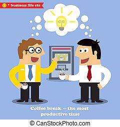 interrupción, café, colaboración