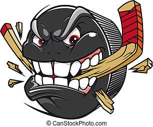 interrupción, disco, palo de hockey