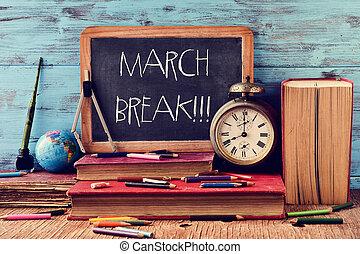 interrupción, escrito, pizarra, texto, marzo