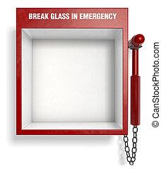 interrupción, vidrio, emergencia