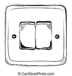 interruptor, de, empate, electricidad, bosquejo, vector, garabato, mano, simple