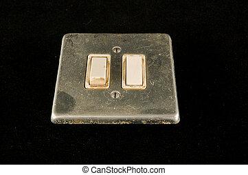 interruptor, primer plano, elctric, interruptor