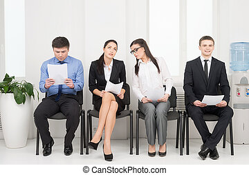 interview., gente, diferente, esperar, cuatro, mirar, nervioso