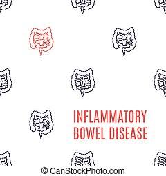intestino, inflamatorio, lineal, patrón, cartel, desorden