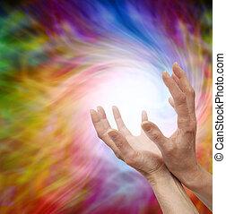 intuir, curación, energía, distante