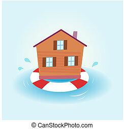 Inundación de la casa, a flote