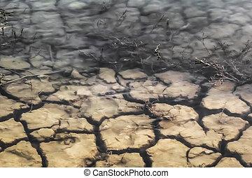 inundado, estéril, agrietado, superficie, tierra