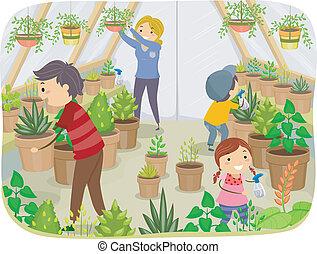 invernadero, familia
