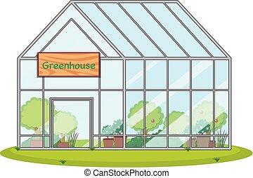 invernadero, plantas, grande