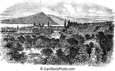 Inverness en Escocia grabado vintage