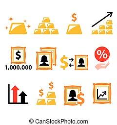 inversión, iconos, alternativa, conjunto, arte, oro, finanzas, -, dinero, inversiones, vector