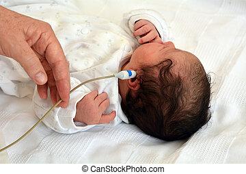 investigación, infante, recién nacido, oído
