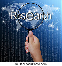 Investigación, palabra en el cristal de la red