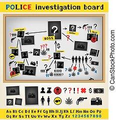 investigación, policía, tabla