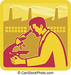 investigador, edificio, científico, fábrica, retro