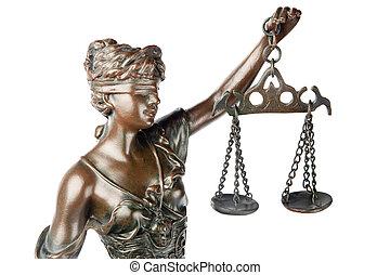 invidente, godness, balance, ella, mano, justicia, símbolo, aislado, themis, griego, primer plano, backgroung, tenencia, blanco, mythologic, escultura, vacío
