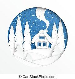 invierno, circle., vector, ilustración, papel, style., design., paisaje de nieve, casa, corte
