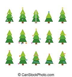 invierno, conjunto, navidad, vector, caricatura, colorido, árbol