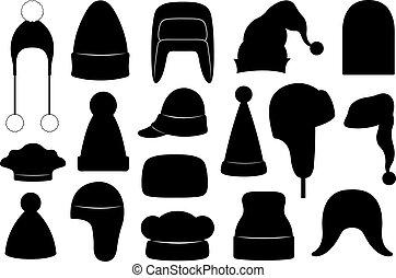 invierno, conjunto, sombreros, diferente