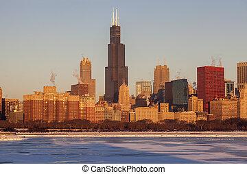 Invierno en Chicago, horizonte al amanecer