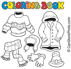 invierno, libro colorear, ropa