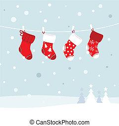 invierno, -, medias de navidad, rojo, naturaleza, blanco