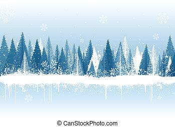 invierno, plano de fondo, bosque