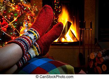 invierno, tarde, chimenea, romántico, navidad