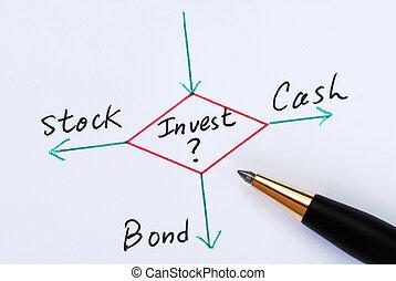invierta, acciones, bonos, efectivo, o