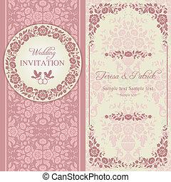 Invitación barroca de boda, rosa y beige