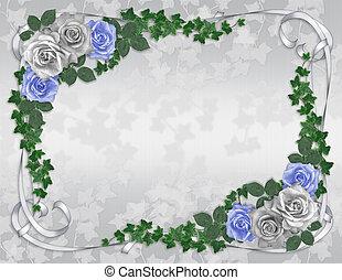 Invitación de boda, frontera azul rosa