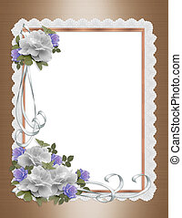 Invitación de bodas rosas blancas