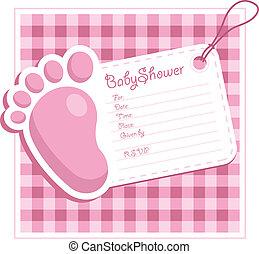 Invitación de despedida de bebé rosada