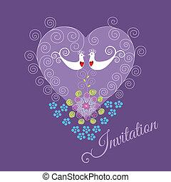 Invitación púrpura con dos pájaros de amor