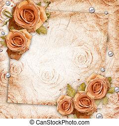 invitación, tarjeta, plano de fondo, rosas, saludo, o, vendimia