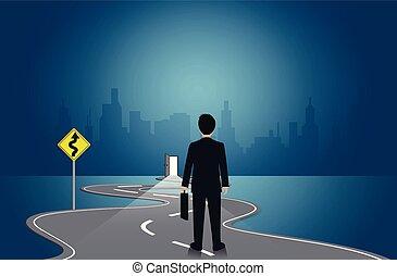 ir, ambulante, hombres de negocios, bobina, leadership., idea., road., concept., vector, éxito, blackboard., challenge., ilustración, plano de fondo, destination., blanco, growth., creativo, empresa / negocio
