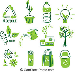ir, conjunto, verde, icono