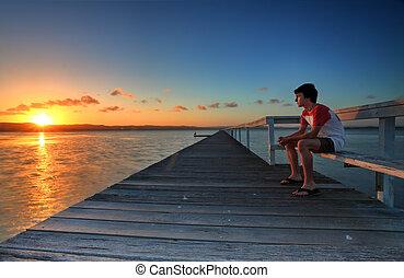 ir, dejar, tensiones, ocaso, días, mirar