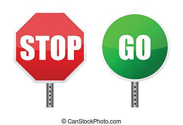 ir, ilustraciones, parar la muestra