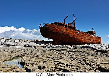 irlanda, barco, oeste viejo, costa, oxidado, aran, decaimiento, islands.