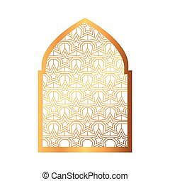 islámico, árabe, ornamental, arco, musulmán, tradicional