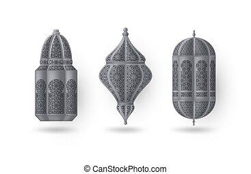 islámico, árabe, vector, plata, o, illustration., linternas, set.