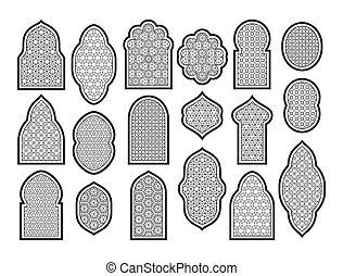 islámico, árabe, vector, windows, o, illustration., set.
