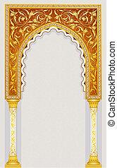 islámico, diseño, arco