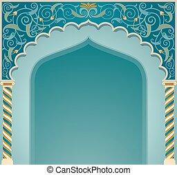 islámico, diseño, eps10, arco, formato