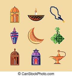 islámico, iconos, celebración, árabe, ramadan, conjunto